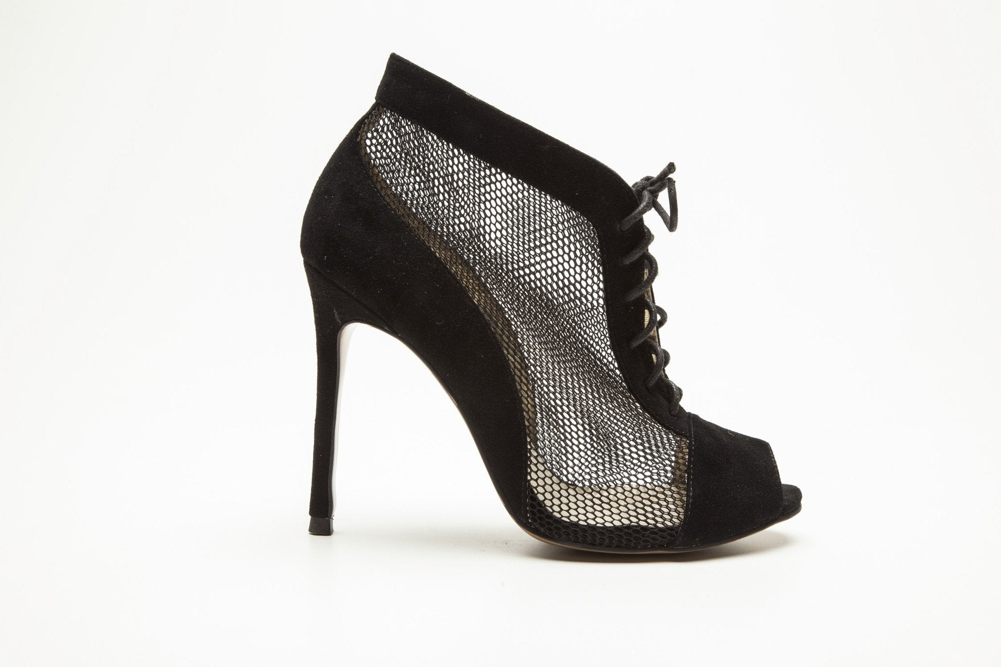 SW16007 Suede Lace-up Peep-toe Boot 60% off - Sam Star shoes