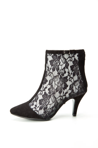 SW15010 Black Lace ankle boots - Sam Star shoes