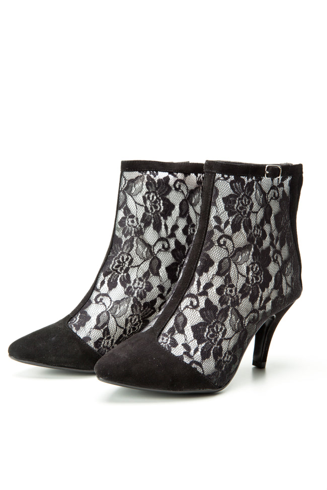 2016 FW Collection SW15010 Black Lace ankle boots - Sam Star shoes