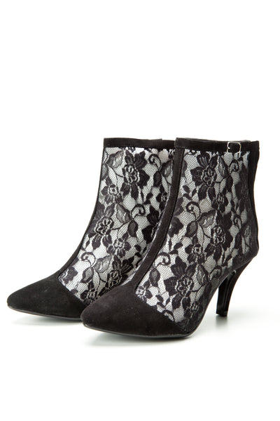 SW15010 Black Lace ankle boots 60% off size 7 only - Sam Star shoes