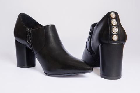 SW19006 Leather Ankle Bootie with Pearls - Sam Star shoes