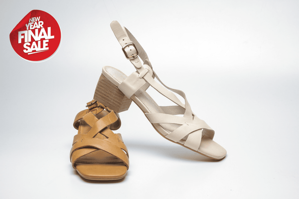 SS19002 Leather Criss Cross Block Heel Sandal R300 off - Sam Star shoes