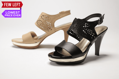 SS17001 Laser cut Leather Sandals in tan and black 30% off - Sam Star shoes