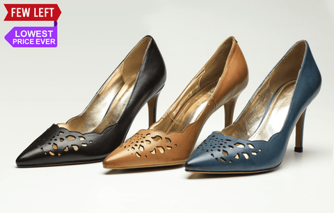 SS19004 Laser Cut Leather Court Shoes - R500 off - Sam Star shoes