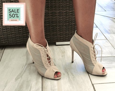 SW16007 Suede Lace-up Peep-toe Boot 50% off - Sam Star shoes