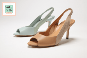 SS17005 Peep toe sling back sandals in blue and tan 50% off - Sam Star shoes