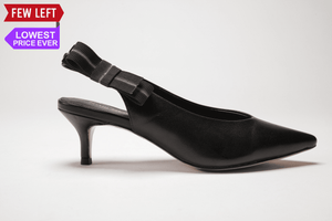 SS20006 Leather Pointy kitten heel with removable bow 30% off - Sam Star shoes