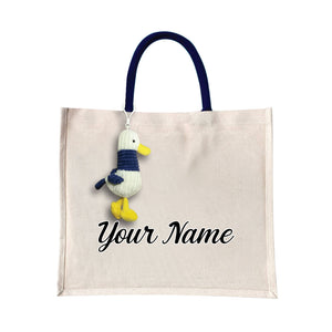 Angelic Canvas Bag with White Duck Plush Toy