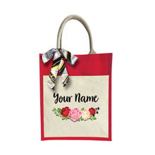 Load image into Gallery viewer, Sweet Rose Jute Bag with Front Pocket