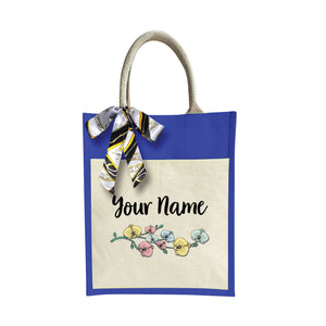 Colorful Flower Jute Bag with Front Pocket
