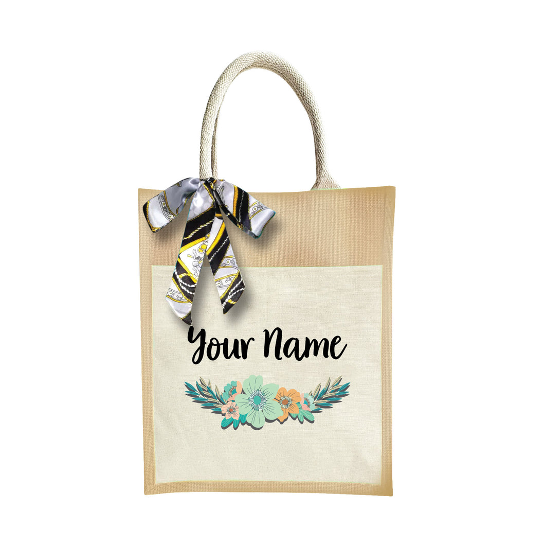 Stylish Flower Jute Bag with Front Pocket