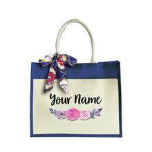 Load image into Gallery viewer, Purple Rose Large Jute Bag with Front Pocket
