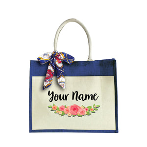 Elegant Rose Large Jute Bag with Front Pocket