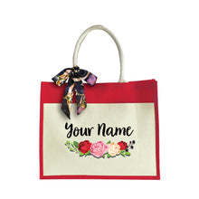 Load image into Gallery viewer, Sweet Rose Large Jute Bag with Front Pocket