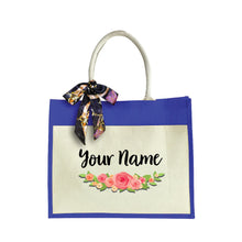 Load image into Gallery viewer, Elegant Rose Large Jute Bag with Front Pocket