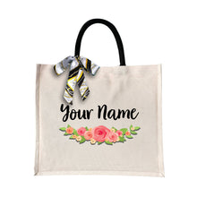 Load image into Gallery viewer, Elegant Rose Canvas Bag with Color Handle