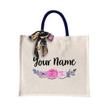 Load image into Gallery viewer, Purple Rose Canvas Bag with Color Handle