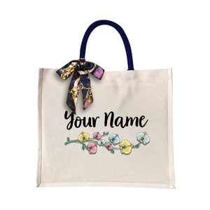 Colorful Flower Canvas Bag with Color Handle