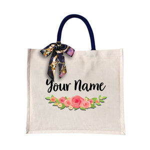 Elegant Rose Canvas Bag with Color Handle