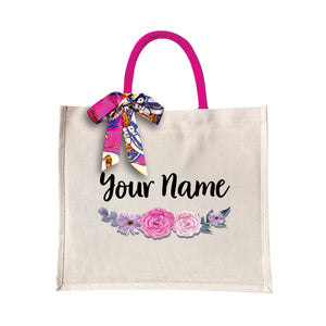 Purple Rose Canvas Bag with Color Handle