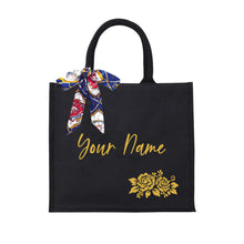 Load image into Gallery viewer, Sweet Rose Black Canvas Bag - Gold Name