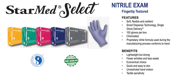 StarMed Select Nitrile Gloves -Exam Grade - 100/count - Size Medium (fits most)