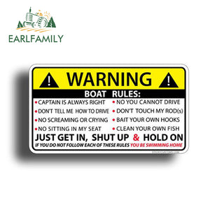 13cm x 7.3cm  BOAT RULES Warning Sticker Funny Vinyl Water proof