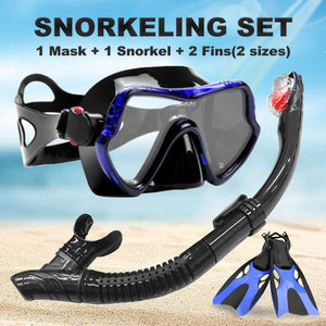 Professional Anti-Fog Scuba Diving Goggles Glasses Mask + Easy Breath Tube Snorkels + Fins Set