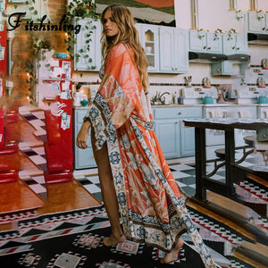 Swim wear Beach Cover Up Kimono Vintage Print Floral Holiday Bikini Outing Boho Loose Long Cardigan 2020 Orange Coat
