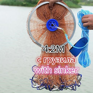 Finefish USA Cast Net 2.4--4.8M With Sinker Fishing Net