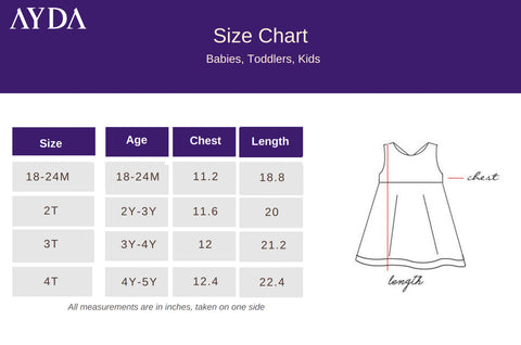 AYDA | Size chart for baby, toddler and children wear | Chic, quality children wear