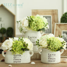 Load image into Gallery viewer, Miz 1 Piece White Clay Vintage Freshing Green Artificial Hydrangea Berries Vase Set for Home Desktop Vase with Flower