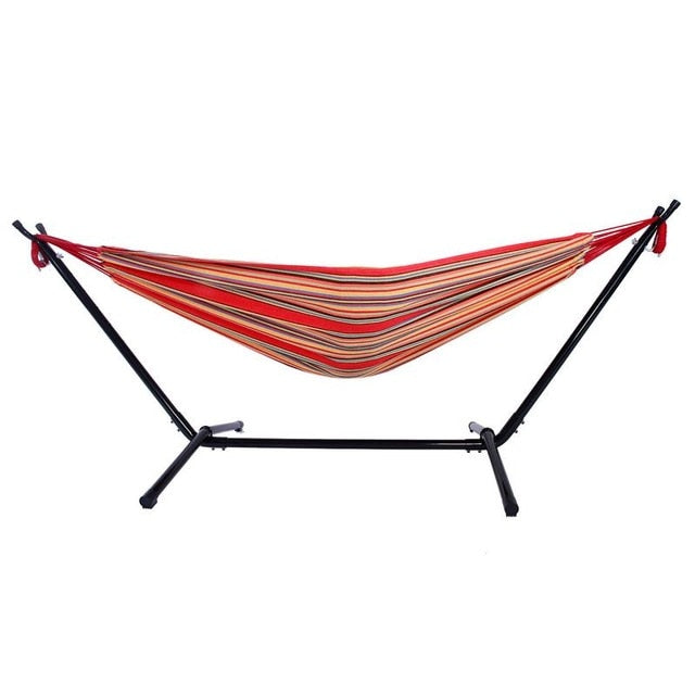 Portable Outdoor Polyester Hammock Set With Hammock Stand Handbag For Outdoor Camping Travel Beach And Indoor Use