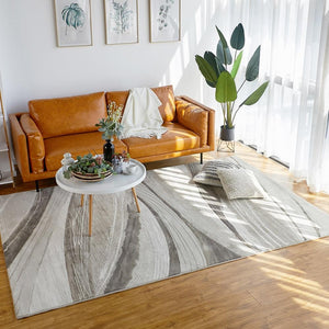 Big size modern style abstract geometric living room rug , natural wood color office room carpet, home decoration floor mat - LikeRE Marketplace