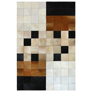 European Style Geometric Grid Carpets Living Room Bedroom Tea Table Rugs Cowhide Manual Stitching Carpet Luxurious Large Rug - LikeRE Marketplace