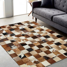 Load image into Gallery viewer, American style cowhide skin fur handmade seamed patchwork rug, fur chequer carpet for living room, office decoration mat - LikeRE Marketplace