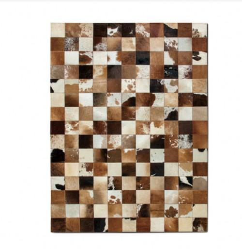 American style cowhide skin fur handmade seamed patchwork rug, fur chequer carpet for living room, office decoration mat - LikeRE Marketplace