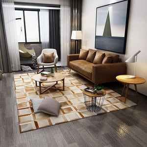 American  style luxury cowhide seamed bedside rug geometric pattern   cowskin chequer  patchwork carpet  for living room - LikeRE Marketplace