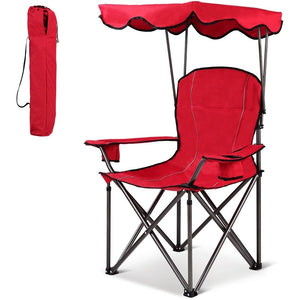 Portable Folding Beach Canopy Chair with Cup Holders Camping Chairs Patio Outdoor Furniture OP3640RE