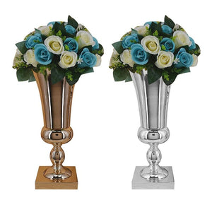 43CM Gold/Sliver Iron Luxury Candlestick Flower Vase Table Centerpiece Event Flower Rack Road Lead Wedding Decoration - LikeRE Marketplace