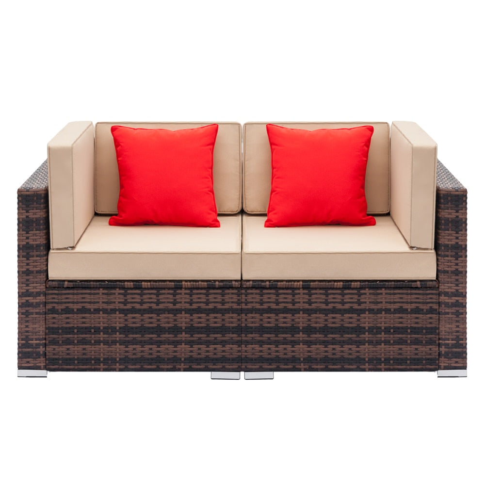 Furniture living room Sofa Fully Equipped Weaving Rattan Sofa Set with 2pcs Corner Sofasr For Living Room Sofa