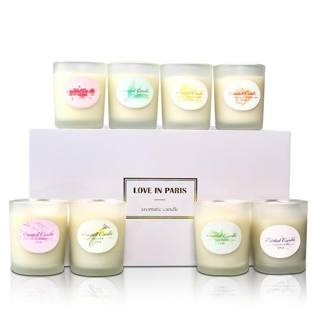 8PCS Aromatherapy Candle Cup Environmentally Friendly Plant Essential Oil Soy Wax Smokeless Candles Home Wedding Decoration For - LikeRE Marketplace