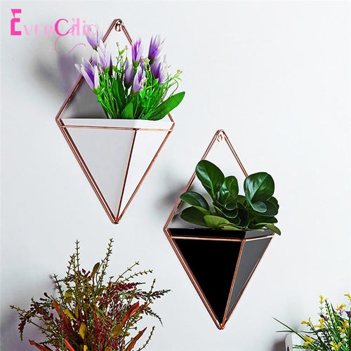 Acrylic flower Pot + Iron Plant Holders Set Indoor Hanging Planter Geometric Vase Wall Decor Container Succulents Plant Pots - LikeRE Marketplace