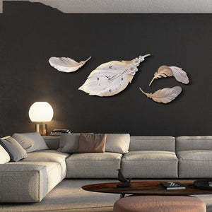 Nordic Luxury 3D Stereo Wall Clocks Resin Feather Leaf Clock Crafts Wall Sticker Mural Decoration Home Livingroom Sofa Ornaments