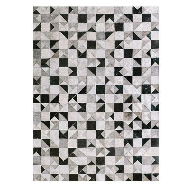 Black and white luxury cowhide patch work rug  , modern natural milch cow skin carpet  for living room   decoration floor mat - LikeRE Marketplace