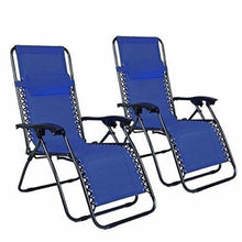 Load image into Gallery viewer, 2pcs Plum Blossom Lock Portable Folding Chairs with Saucer Blue Outdoor Beach Chair for Trave Camping - LikeRE Marketplace