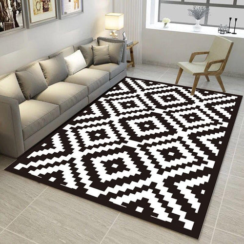 New Black And white Geometric pattern carpet Trend 3D Print Rug and carpets Living room coffee table Yoga sofa Antiskid Floor Ma - LikeRE Marketplace