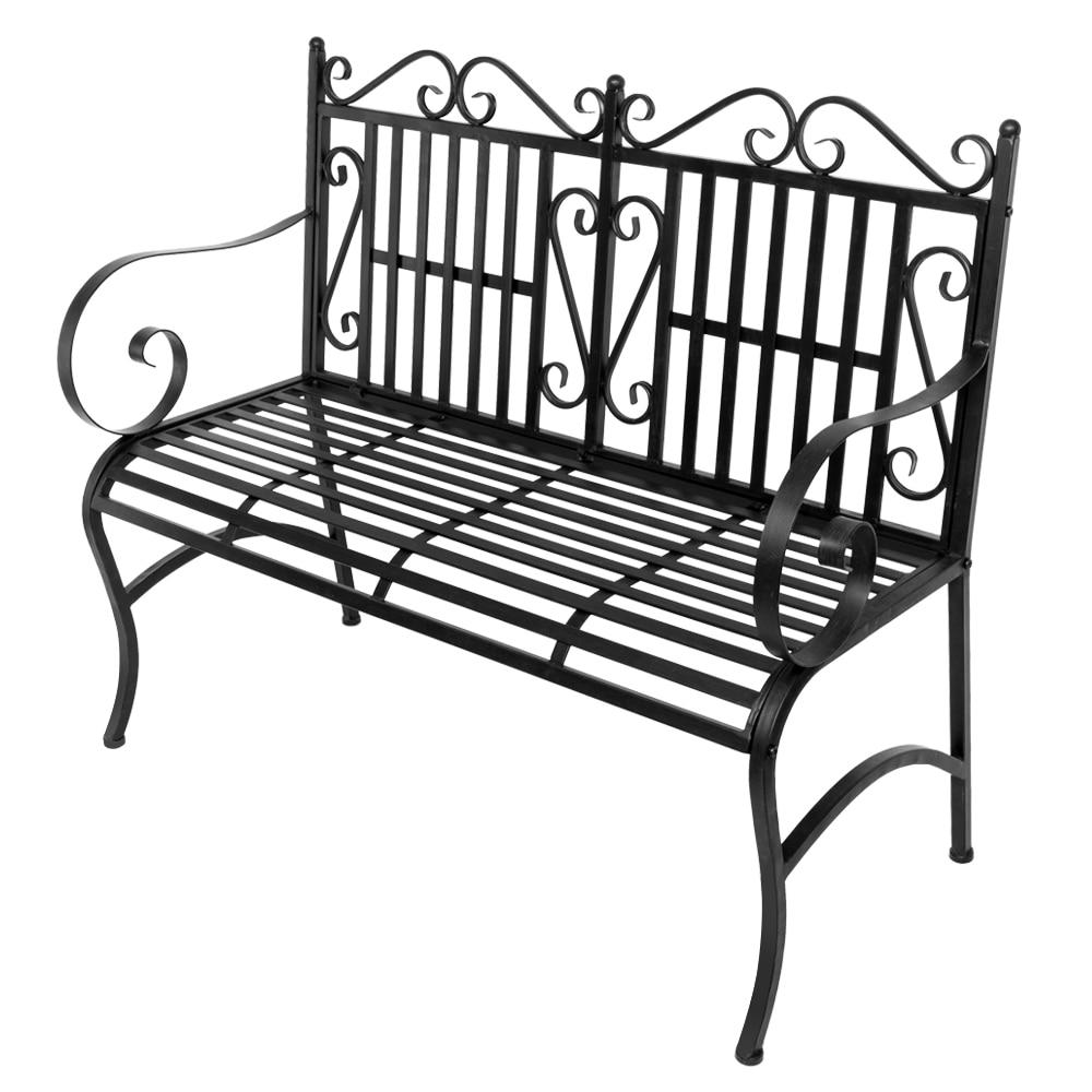 2-Seater Foldable Outdoor Patio Garden Bench Porch Chair Seat with Steel Frame Solid Construction Outdoor Garden Double Chair - LikeRE Marketplace