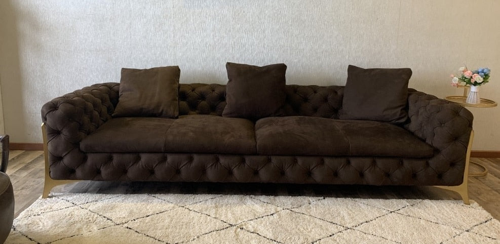 Italy Design Three Seater Sofa with Metal Feet, Eco Leather or Fabric Upholstery