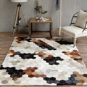 American style natural cowhide seamed rug  , brown color genuine cows skin carpet for living room, fur bedside carpet - LikeRE Marketplace